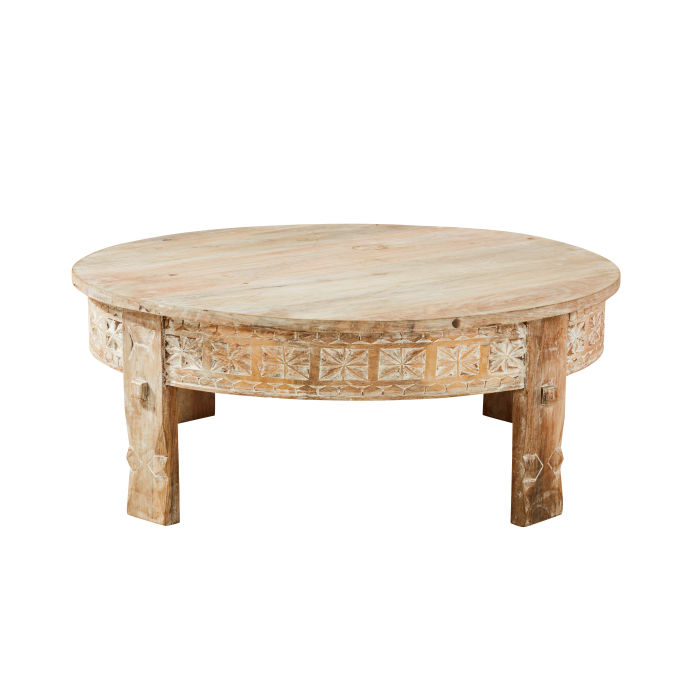 Carved Solid Mango Wood Round Coffee Table