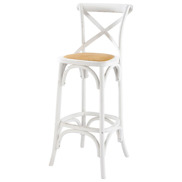 Chaise de bar en rotin et bois blanc Tradition