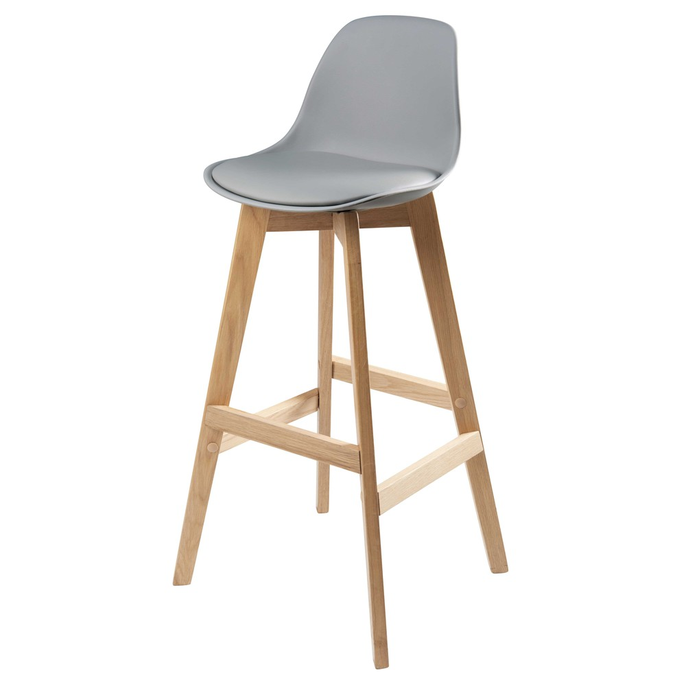 Chaise de bar style scandinave grise et chêne Ice (photo)