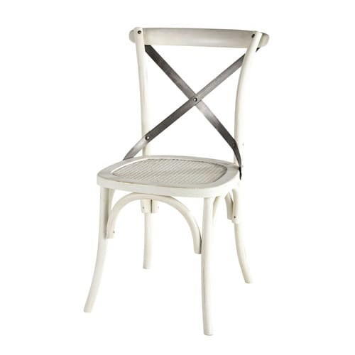 Chaise en rotin et m tal blanche tradition maisons du monde for Chaise en rotin et metal