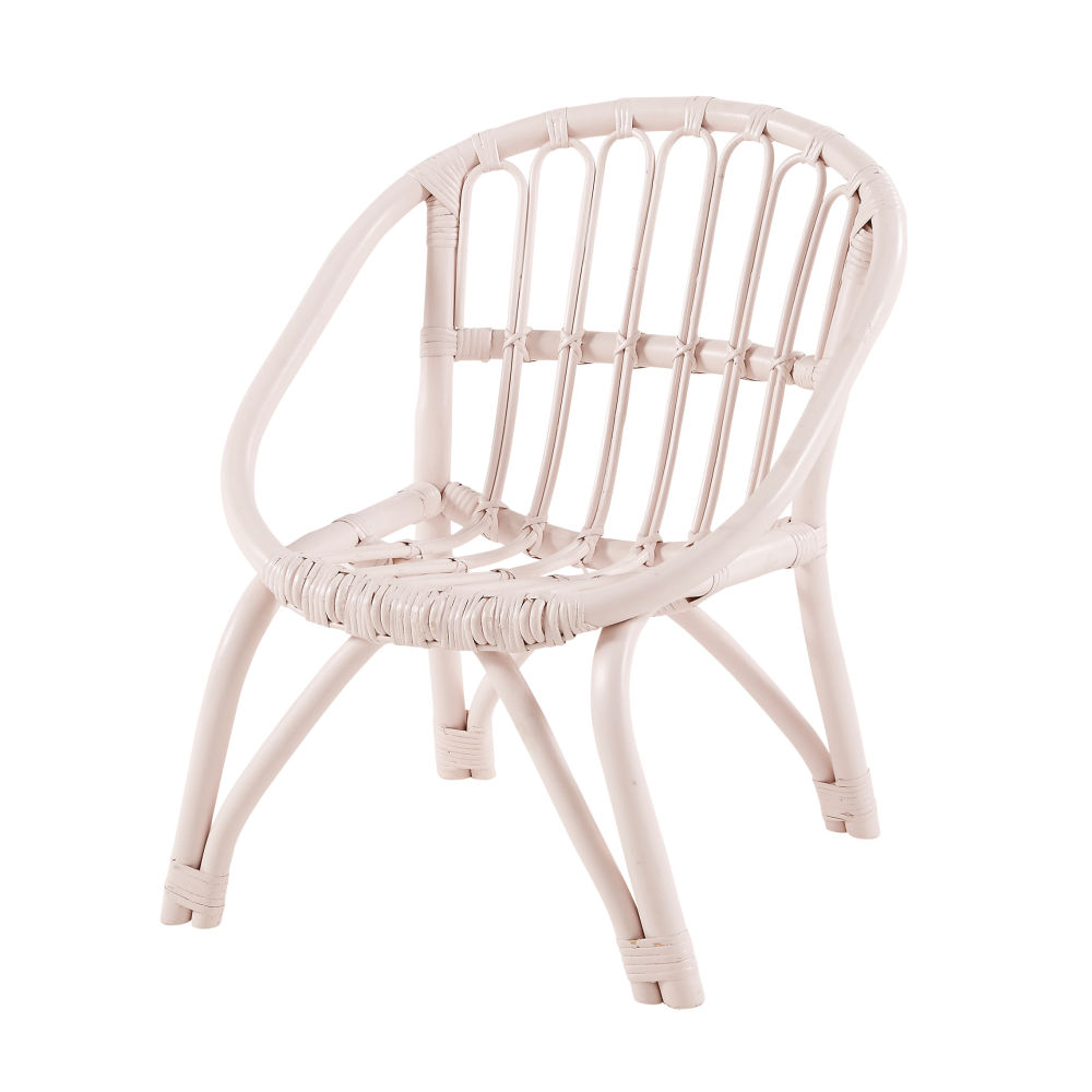 Chaise enfant en rotin rose clair Plume (photo)