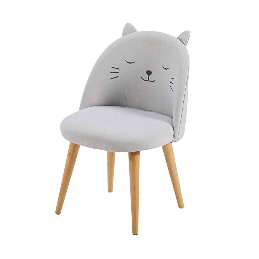 Chaise enfant gris clair à motifs Cats (photo)