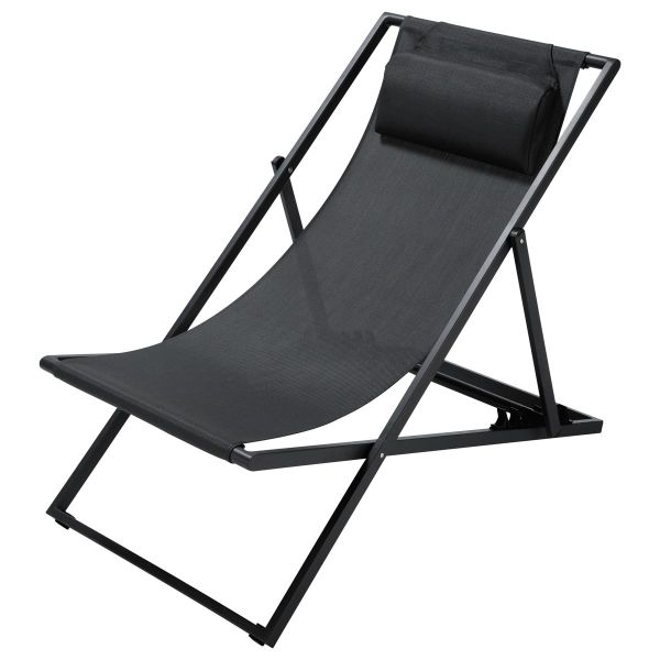 Chaise longue / chilienne pliante en métal anthracite L 104 cm Split