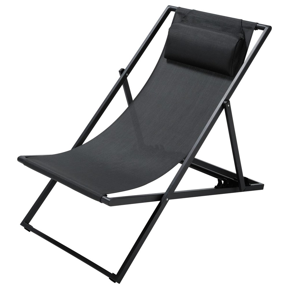 Chaise longue / chilienne pliante en métal gris anthracite Split (photo)