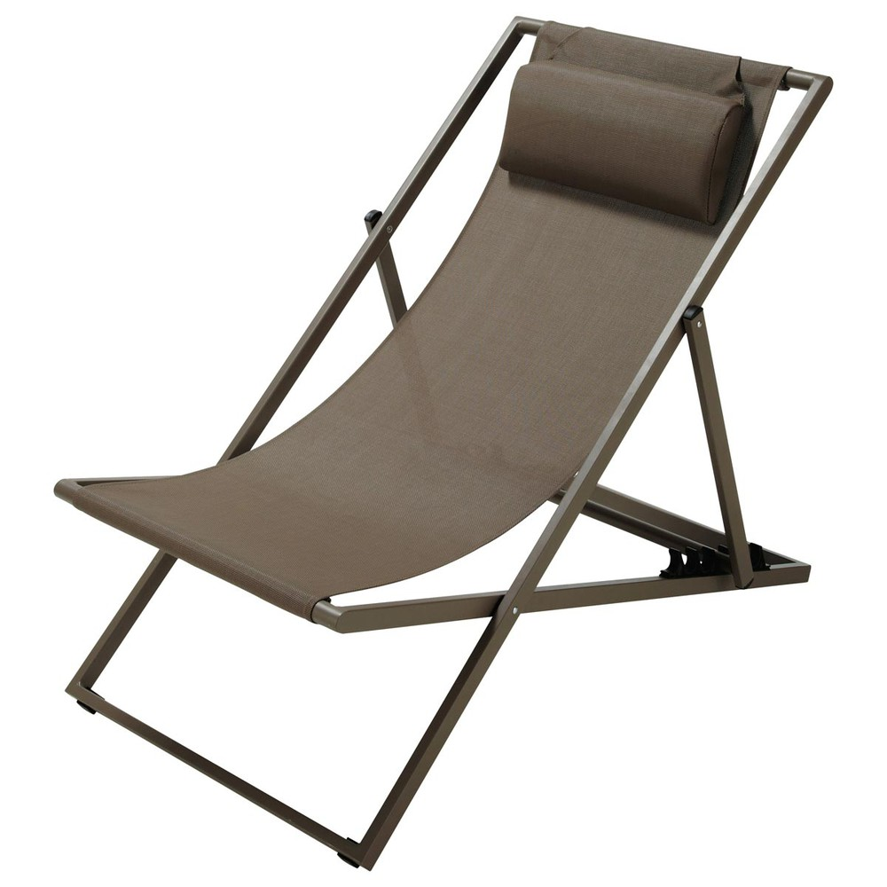 Chaise longue / chilienne pliante en métal taupe Split (photo)