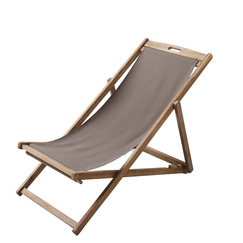 Chaise longue / chilienne pliante taupe en acacia massif Panama (photo)