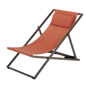 Chaise longue in tela plastificato color terracotta