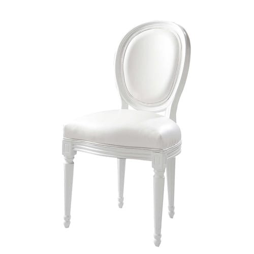 chaise m daillon en textile enduit blanc louis maisons du monde. Black Bedroom Furniture Sets. Home Design Ideas
