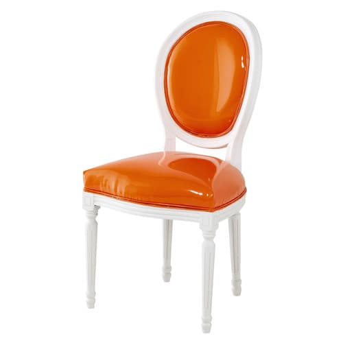 Chaise m daillon en textile enduit orange et bois blanc for Chaise louis maison du monde