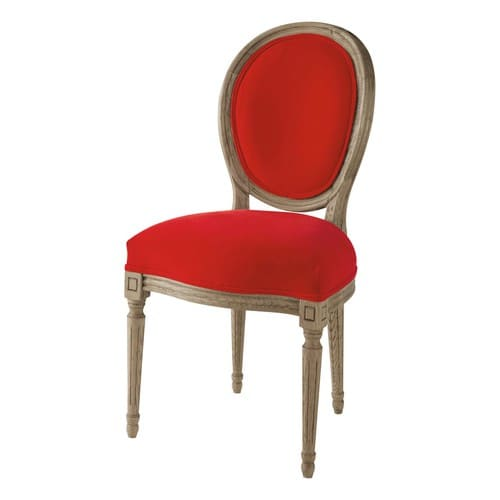 Chaise m daillon en velours et ch ne massif rouge louis maisons du monde - Chaise medaillon velours ...