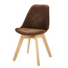 Chaise scandinave en microsuède marron - Ice