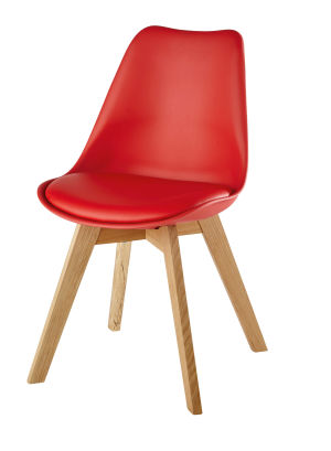 Chaise scandinave rouge et chêne massif