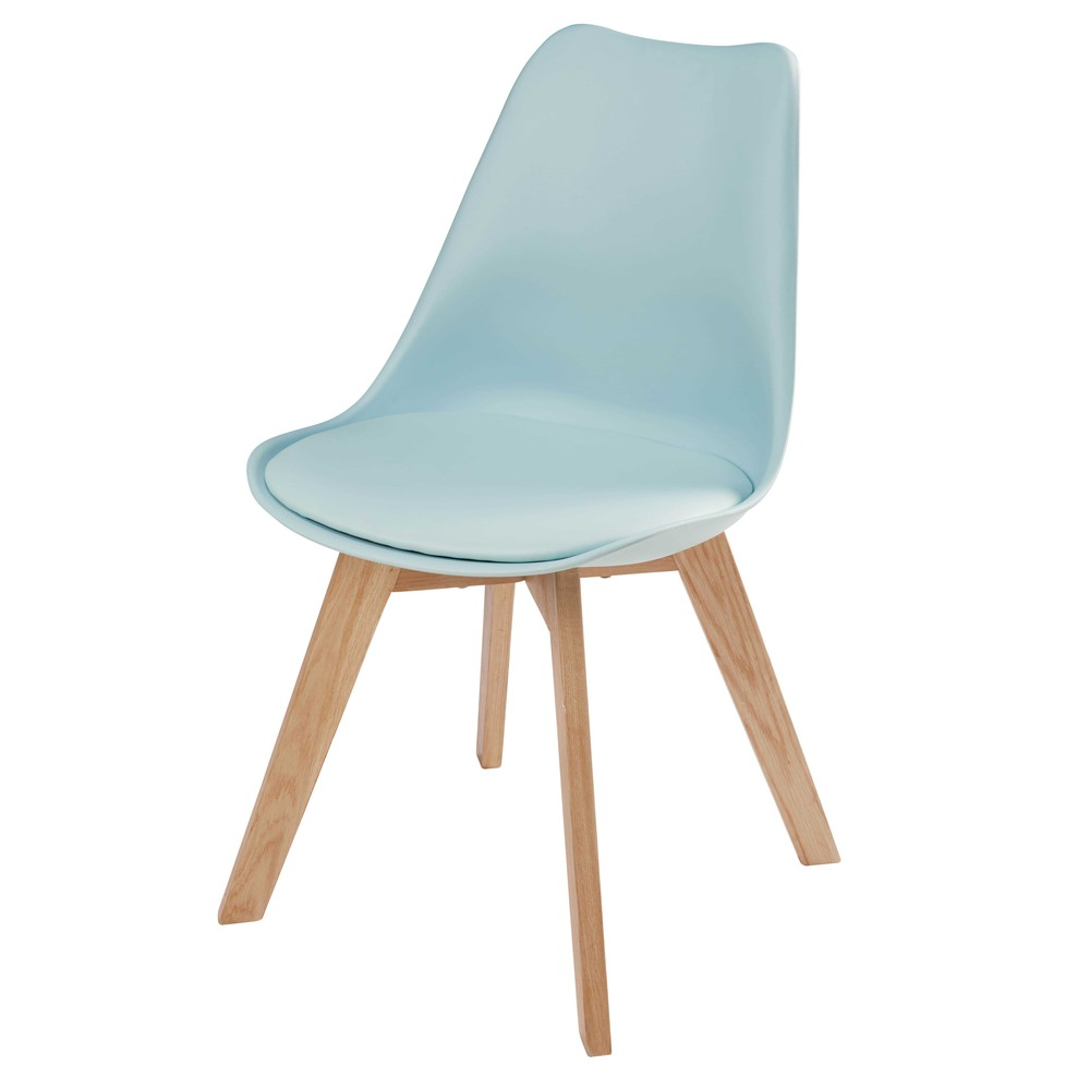 Chaise style scandinave bleu clair et chêne Ice