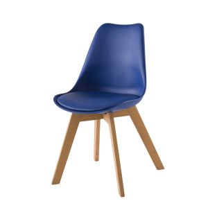 Chaise style scandinave bleu outremer et chêne massif