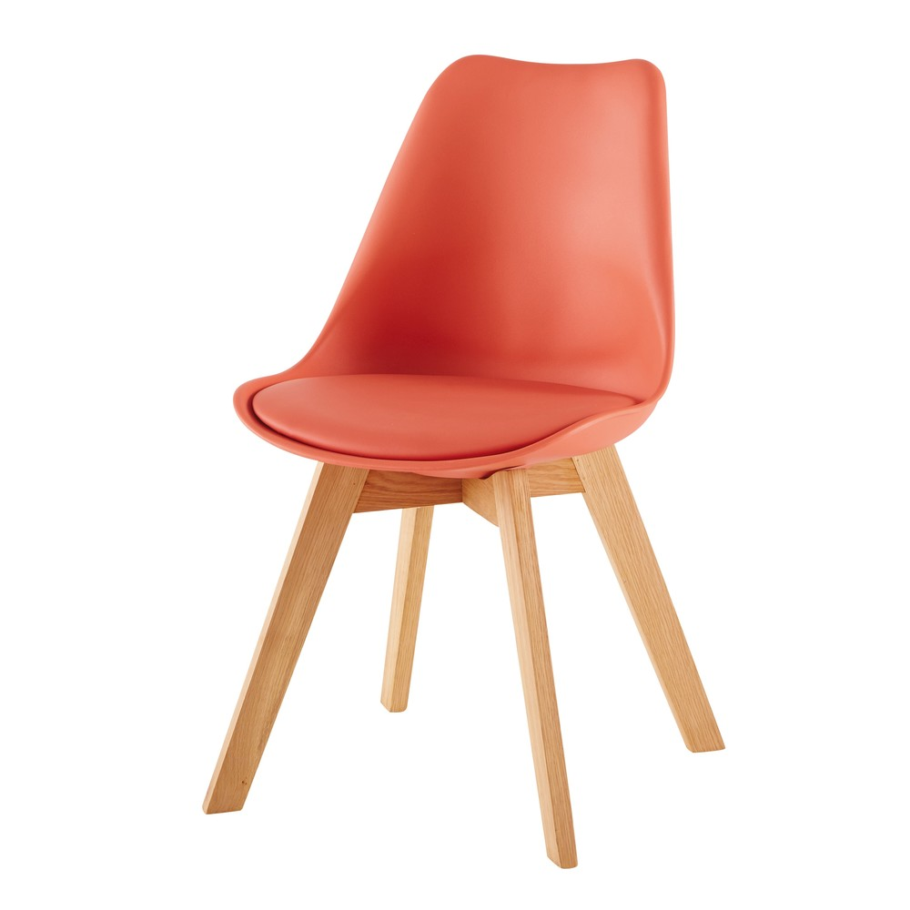 Chaise style scandinave corail et chêne massif Ice