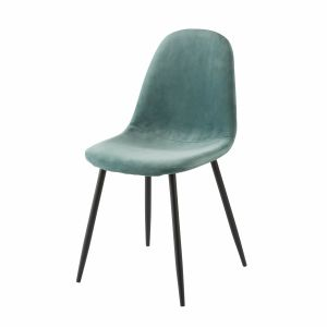 Chaise style scandinave en velours bleu turquoise