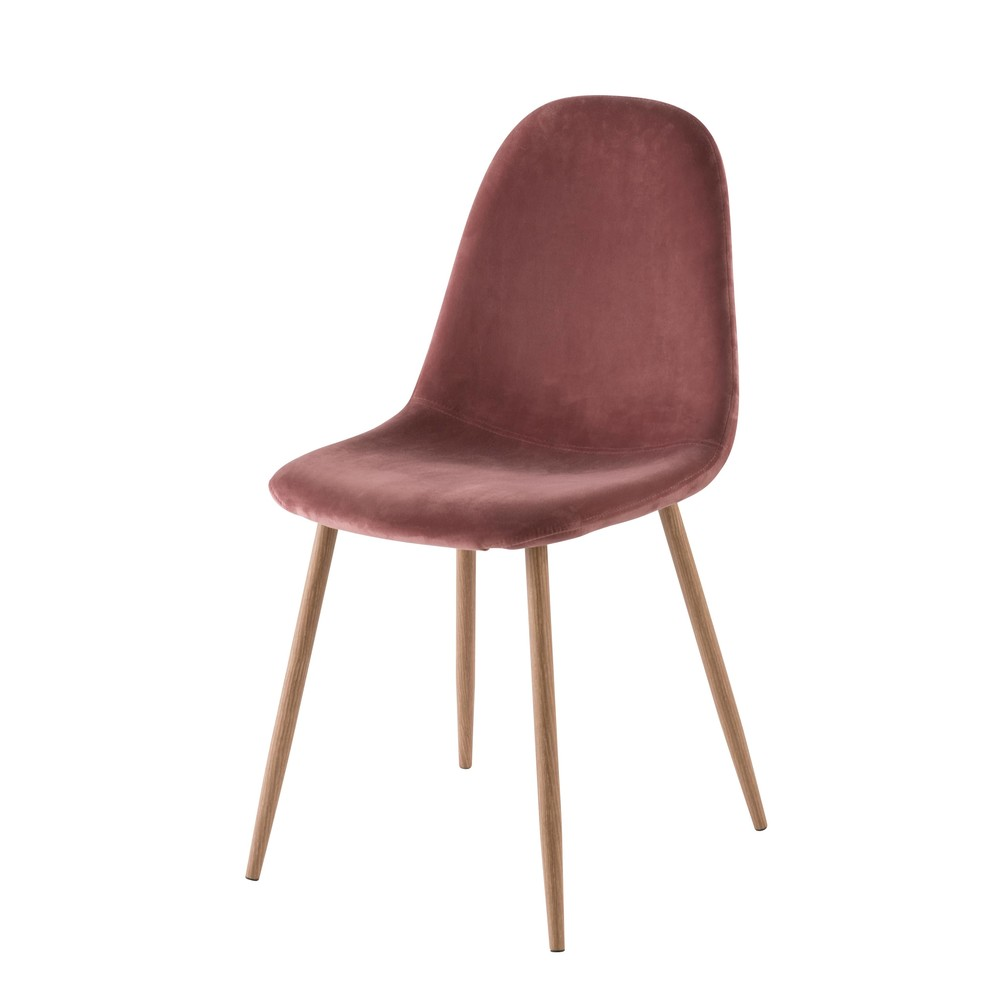 Chaise style scandinave en velours vieux rose Clyde
