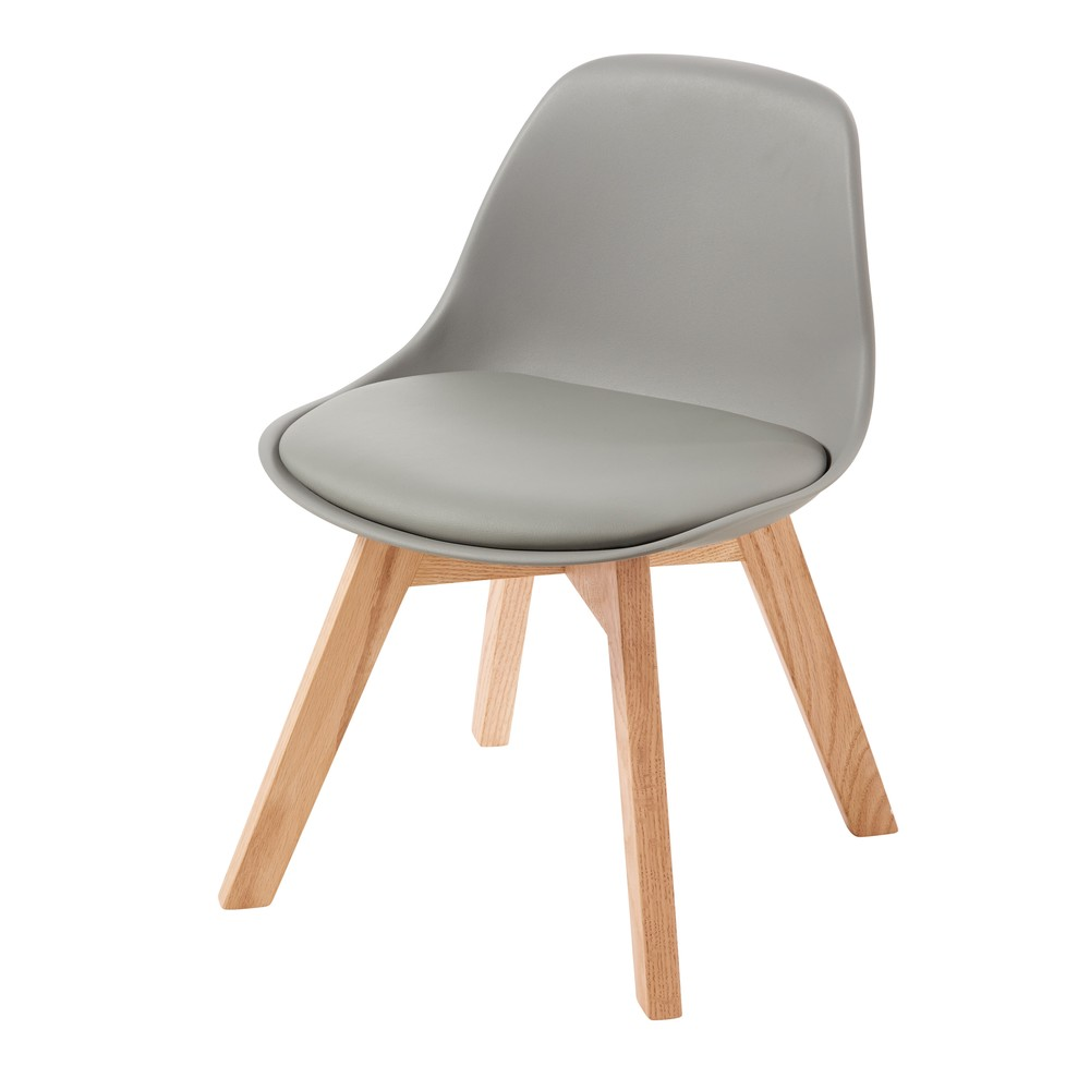 Chaise style scandinave enfant grise et chêne Ice (photo)