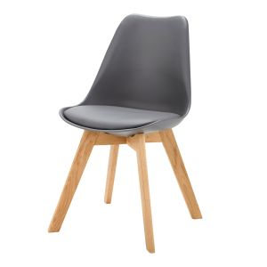 Chaise style scandinave gris anthracite et chêne
