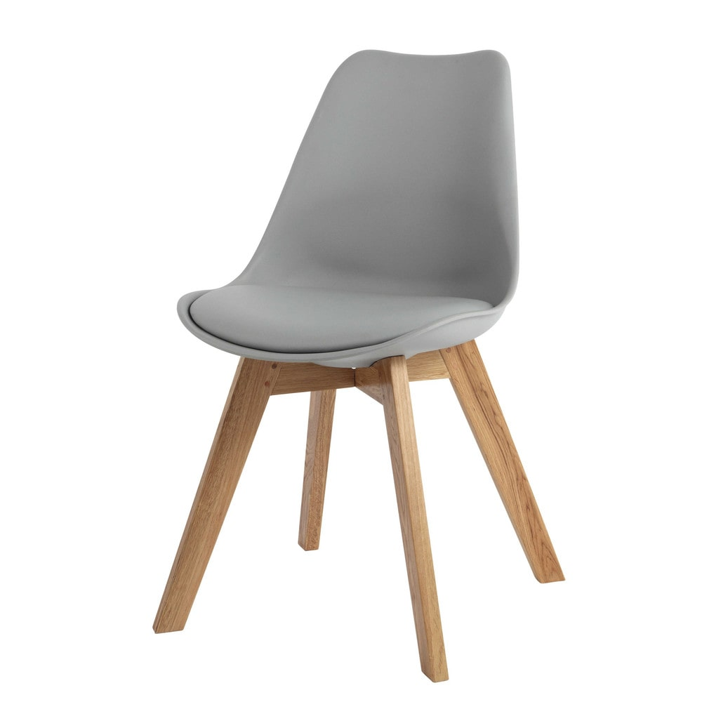 Chaise style scandinave grise et chêne massif Ice