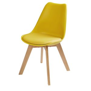 Chaise style scandinave jaune moutarde et chêne massif