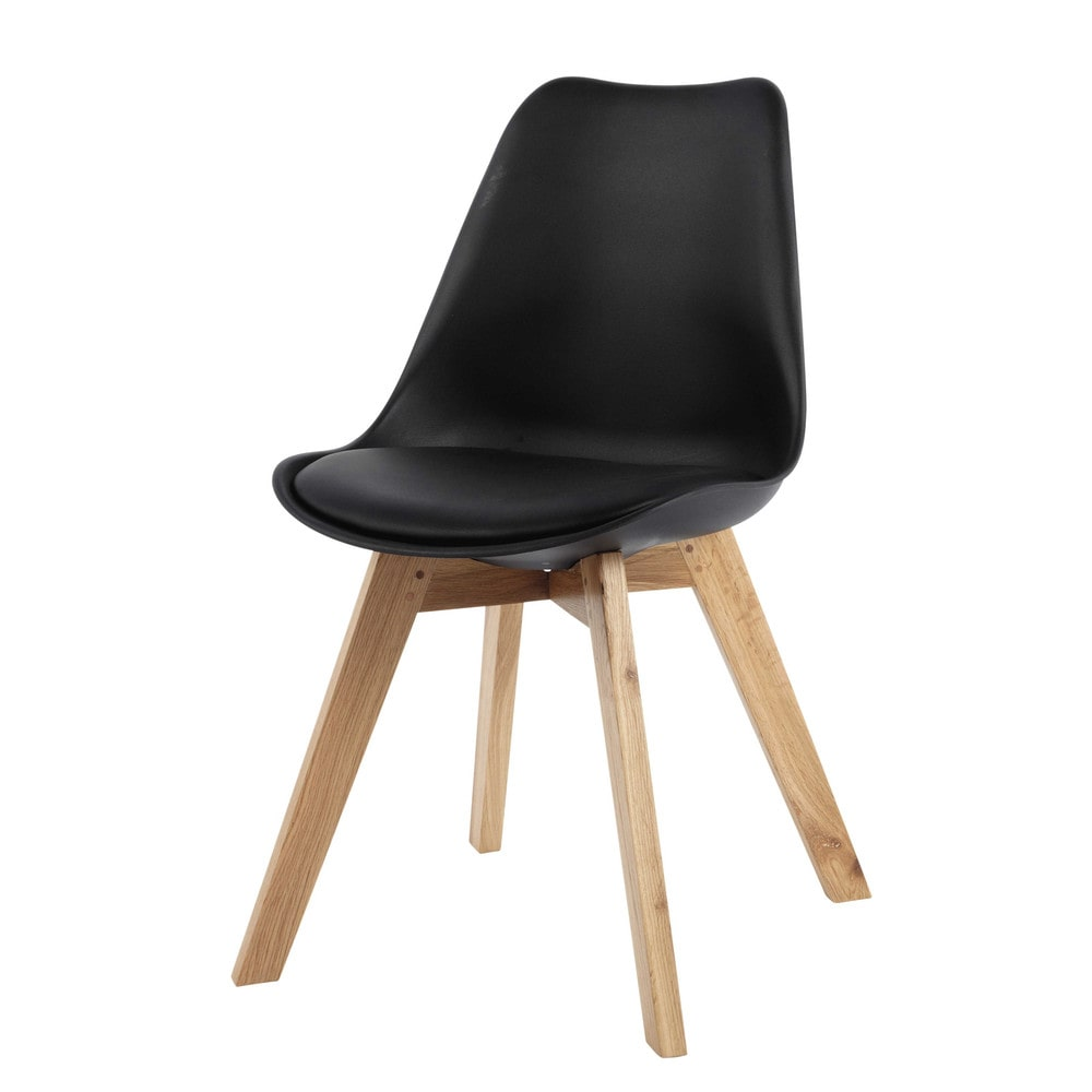 Chaise style scandinave noire et chêne Ice