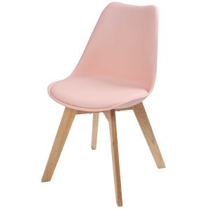 Chaise style scandinave rose pastel et chêne