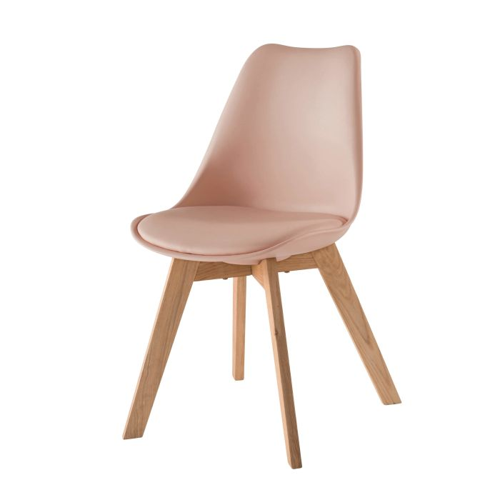 Chaise Style Scandinave Rose Poudre Et Chene Massif Ice