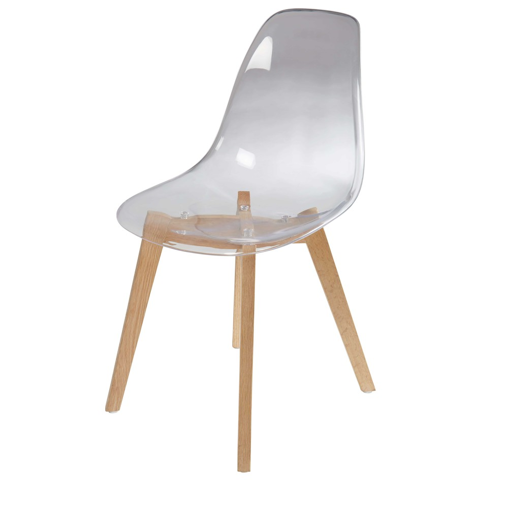 Chaise style scandinave transparente et chêne Ice