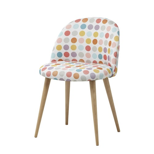 chaise vintage en tissu pois multicolores mauricette maisons du monde. Black Bedroom Furniture Sets. Home Design Ideas