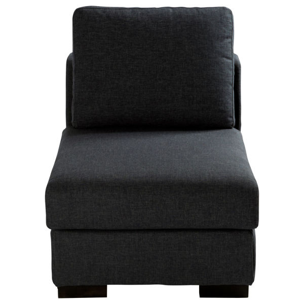 Chauffeuse en tissu Monet anthracite L 64 cm Terence