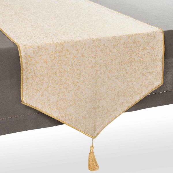 Chemin de table en coton beige/or L 150 cm CLARISSE