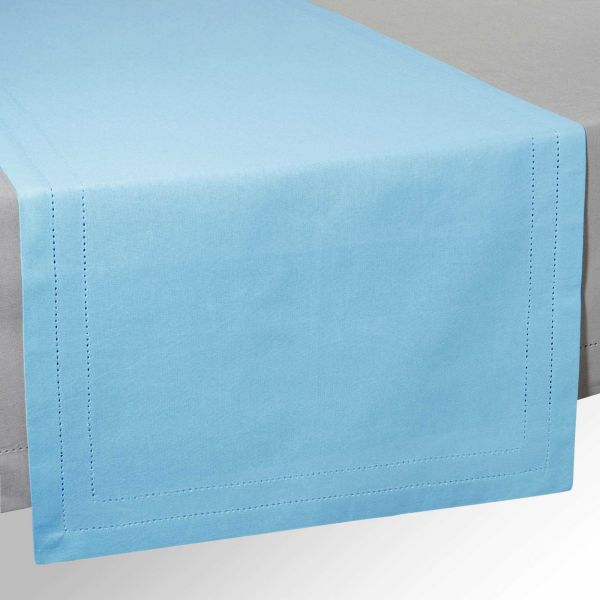 Chemin de table en coton bleu L 150 cm HORIZON