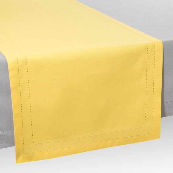 Chemin de table en coton jaune L 150 cm