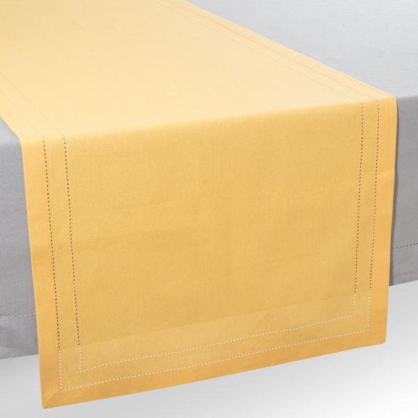 Chemin de table en coton jaune moutarde L 150 cm
