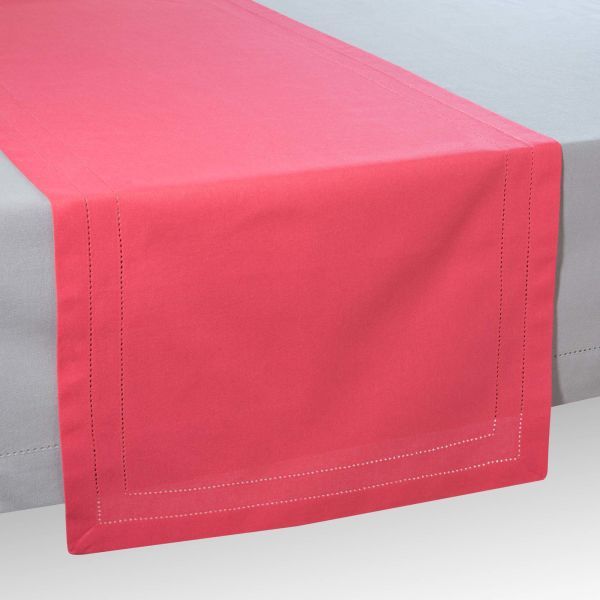 Chemin de table en coton rose framboise L 150 cm