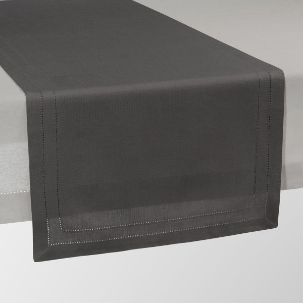 Chemin de table uni en coton anthracite L 150 cm