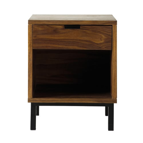 chevet bois de noyer berkley maisons du monde. Black Bedroom Furniture Sets. Home Design Ideas