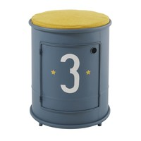 Children's Blue Metal Bedside Table and Chair Petit Bolide