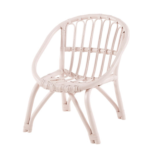Children's Light Pink Rattan Chair