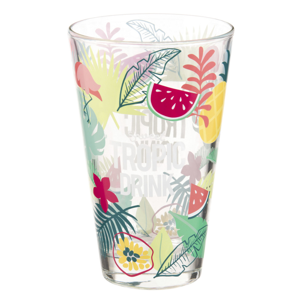 Chope en verre imprimé tropical (photo)