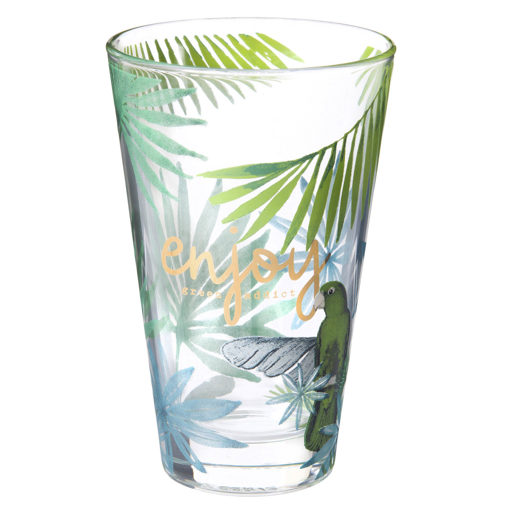 Chope en verre imprimé tropical ENJOY TROPICAL (photo)
