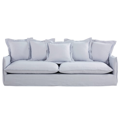 Cloudy Grey 5-Seater Washed Linen Sofa