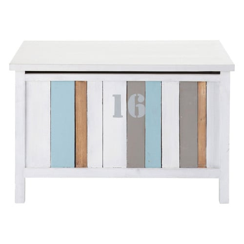 coffre jouets en bois blanc l 70 cm oc an maisons du monde. Black Bedroom Furniture Sets. Home Design Ideas