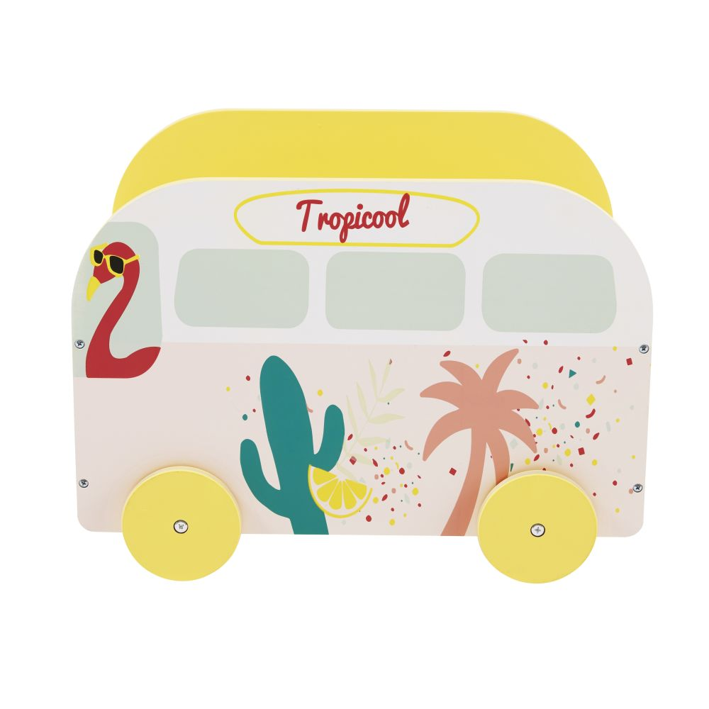 Coffre à jouets enfant van imprimé tropical Tropicool (photo)