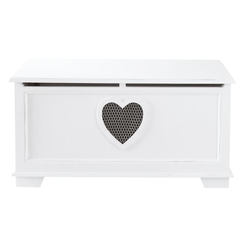 coffre en bois blanc l 90 cm valentine maisons du monde. Black Bedroom Furniture Sets. Home Design Ideas