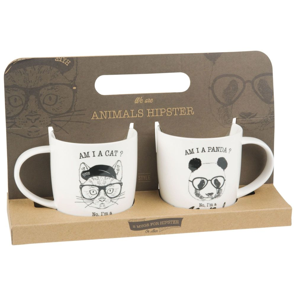 Coffret 2 mugs en porcelaine imprimé chat et panda (photo)