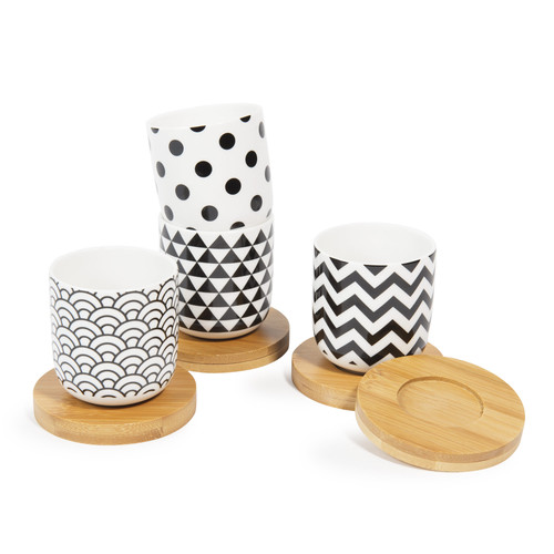 coffret 4 tasses en porcelaine avec soucoupes black white maisons du monde. Black Bedroom Furniture Sets. Home Design Ideas