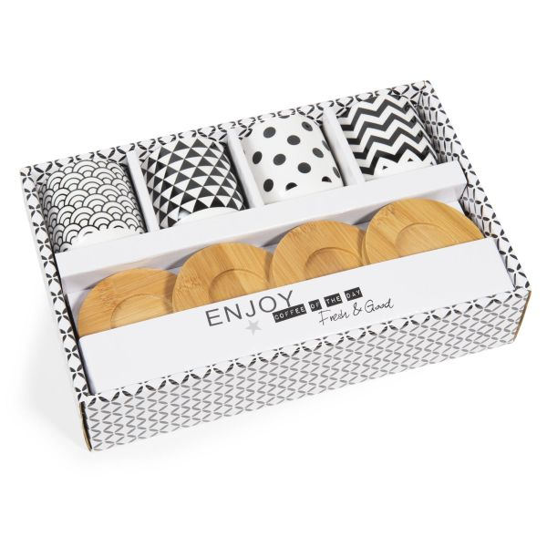 Coffret 4 tasses en porcelaine avec soucoupes BLACK & WHITE (photo)