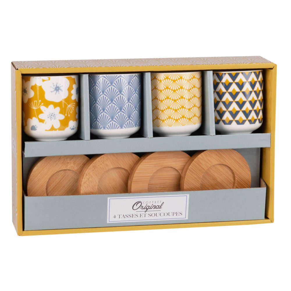 Coffret 4 tasses et soucoupes à café en porcelaine COVENTRY (photo)